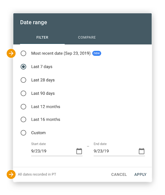 Google Search Console Date Picker